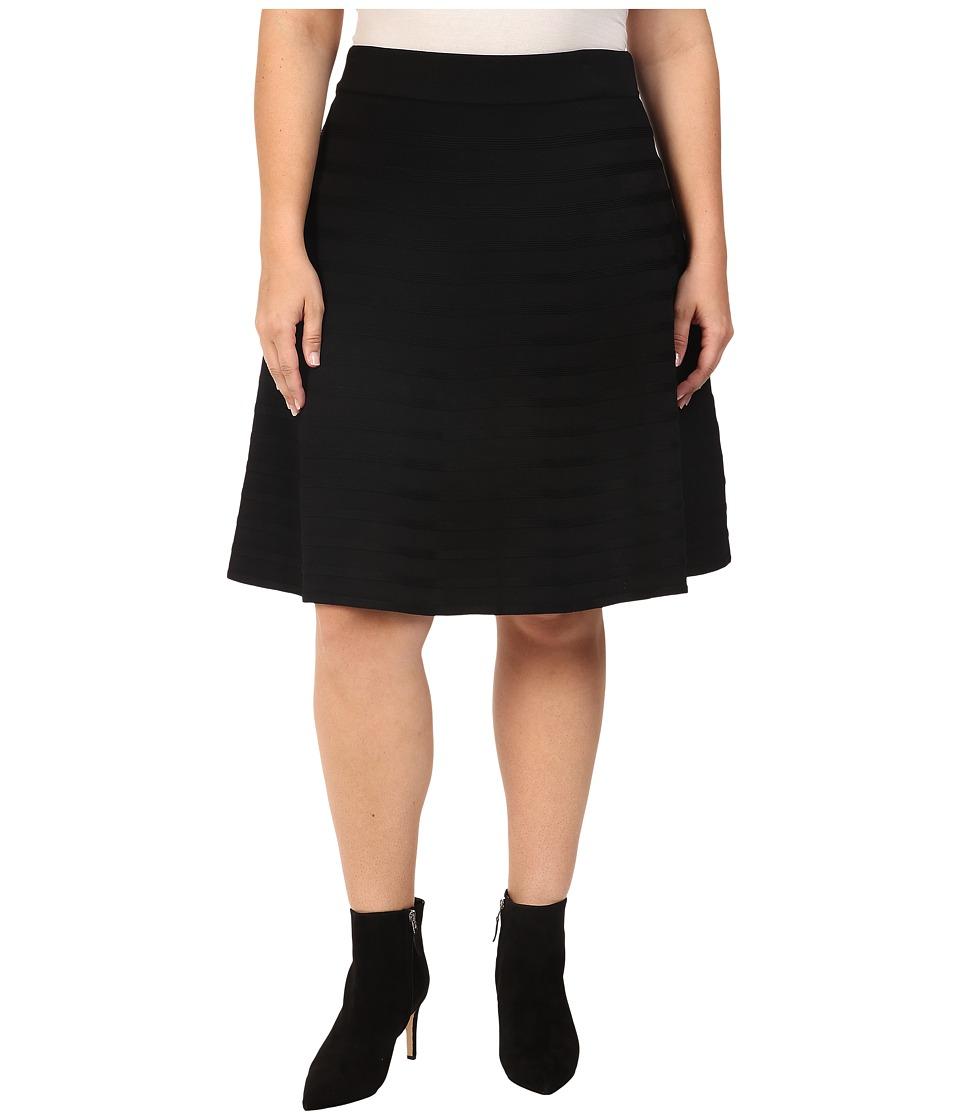 Calvin Klein Plus - Plus Size Skirt w/ Ribbed Stripe (Black) Women's Skirt