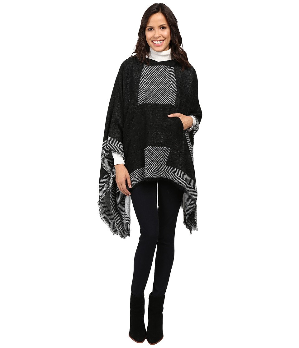 Vince Camuto - Border Poncho w/ Center Pocket (Black) Women's Long Sleeve Pullover