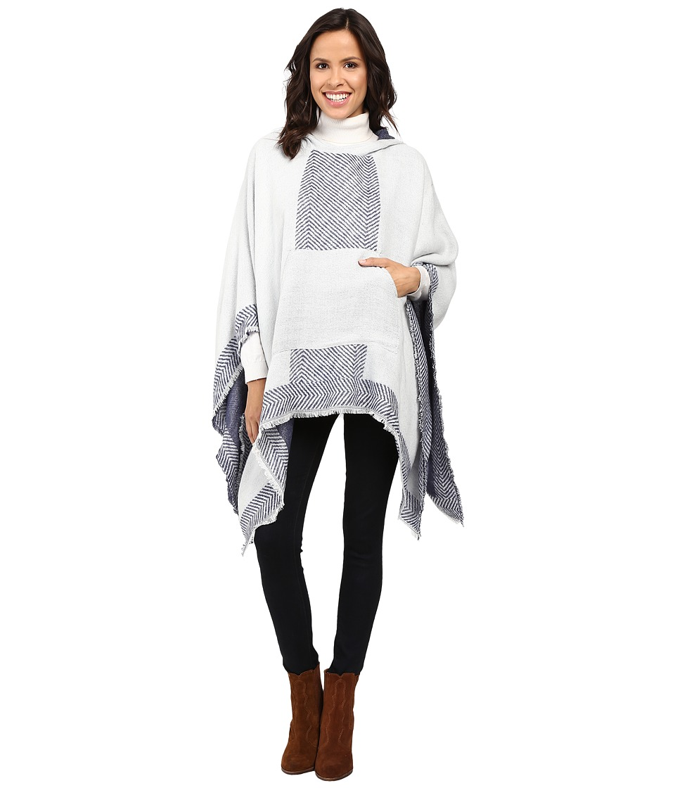 Vince Camuto - Border Poncho w/ Center Pocket (Ivory) Women's Long Sleeve Pullover