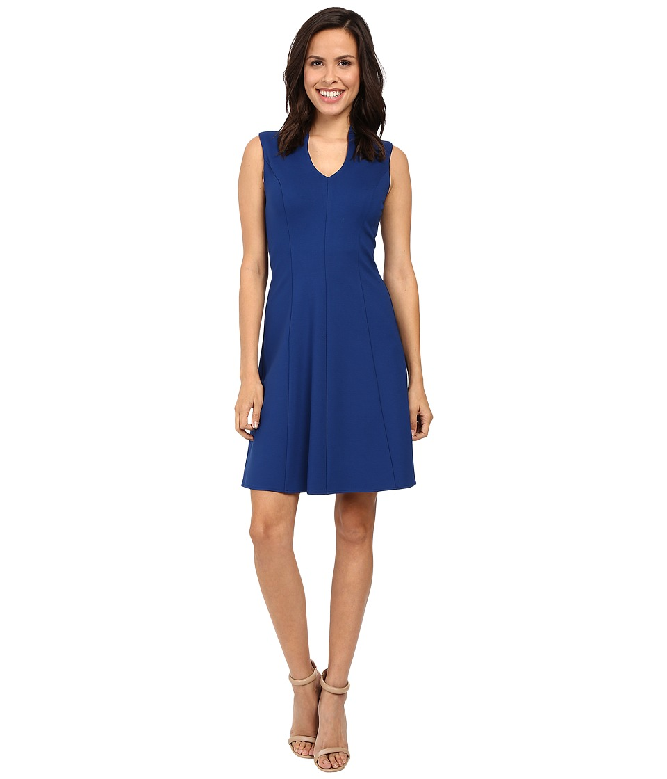 Adrianna Papell - Split Mock Neck Fit and Flare Dress (Night Flight) Women's Dress