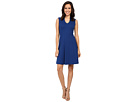 Adrianna Papell - Split Mock Neck Fit and Flare Dress