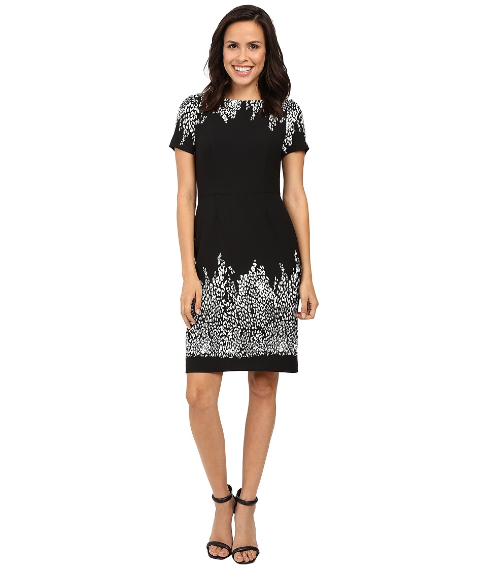 Adrianna Papell - Animal and Lace Printed Blocked Sheath Dress (Black/Ivory) Women's Dress