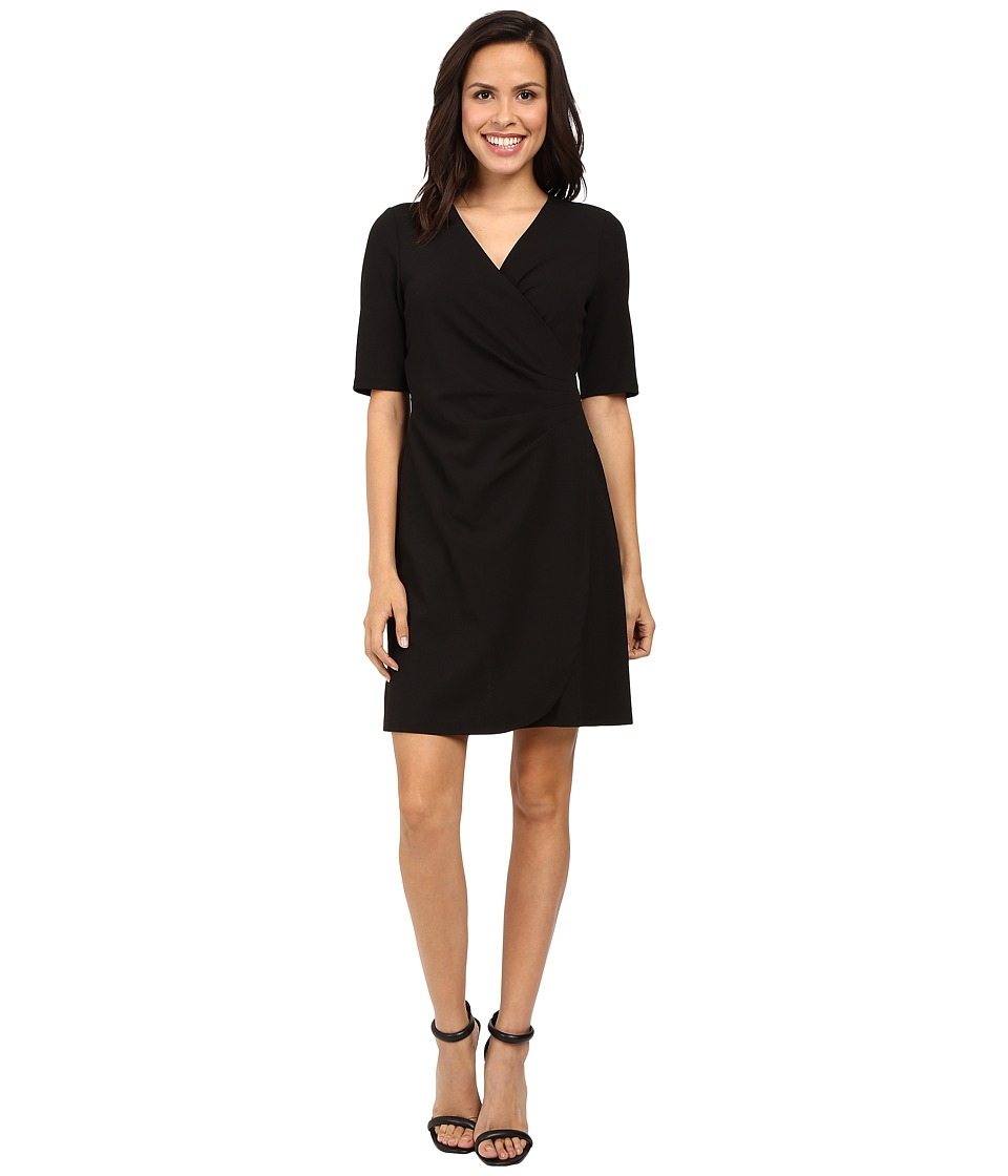 Adrianna Papell - V-Neck Side Rouched Wrap Dress (Black) Women's Dress