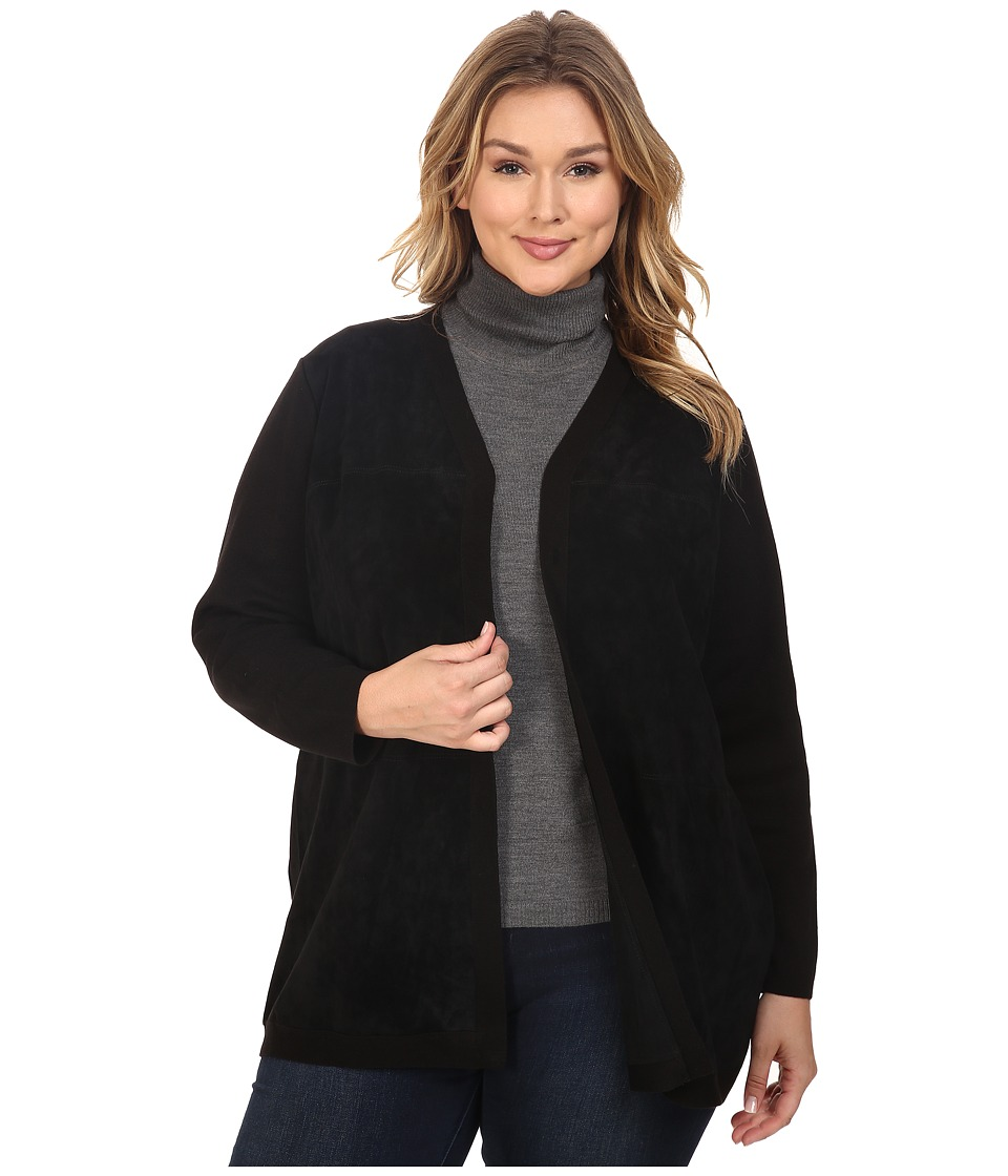 Calvin Klein Plus - Plus Size Cardigan w/ Suede Front (Black) Women's Sweater