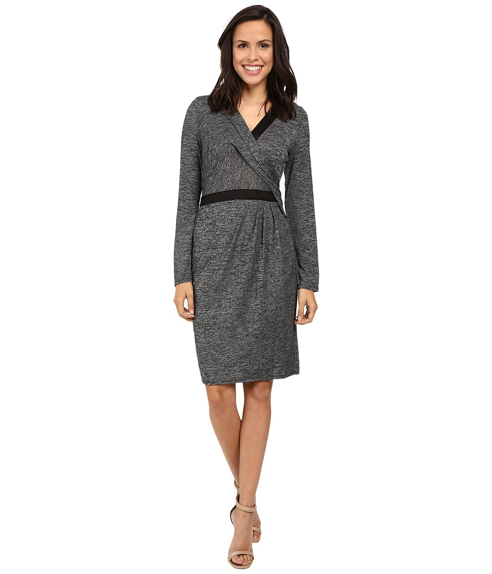 Adrianna Papell - Cross Draped Long Sleeve Dress (Heather Black) Women's Dress