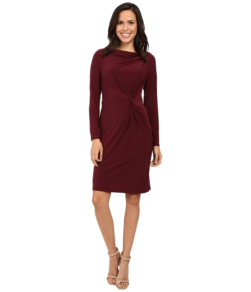 Adrianna Papell - Long Sleeve Front Knot Draped Dress (Bordeaux) Women's Dress
