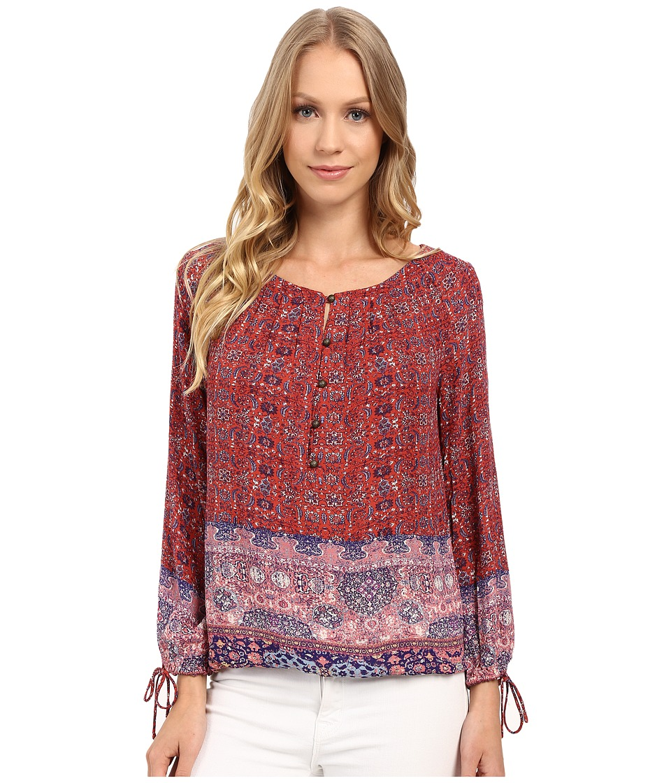 Lucky Brand - Tapestry Print 3/4 Sleeve Top (Red Multi) Women's Long Sleeve Pullover