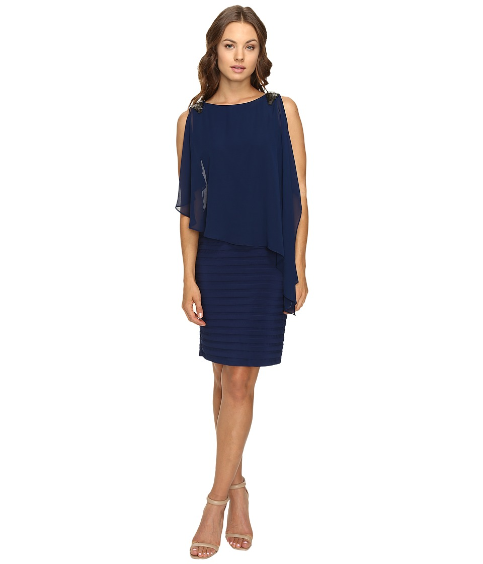 Adrianna Papell - Banded Dress w/ Chiffon Capelet and Beading (Lyric Navy) Women's Dress
