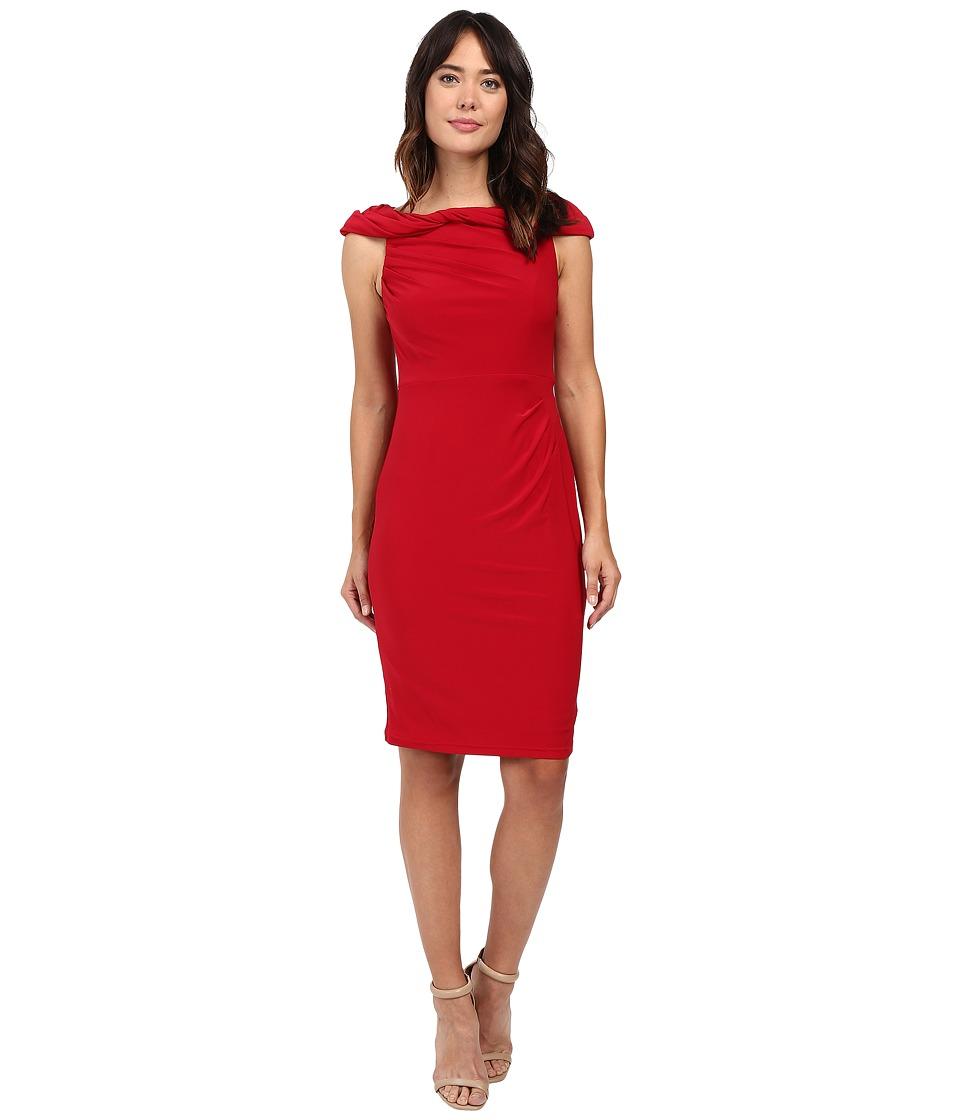 Adrianna Papell - Off the Shoulder Twisted Jersey Dress (Matador Red) Women's Dress