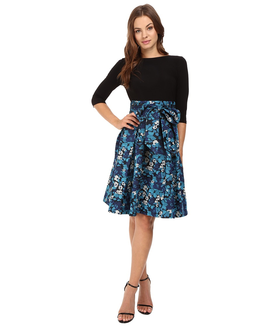 Adrianna Papell - Jersey and Floral Jacquard Fit and Flare Dress (Blue Multi) Women's Dress