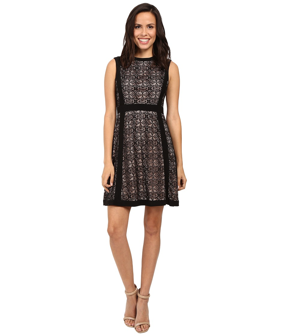 Adrianna Papell - Medallion Geo Lace Blocked Fit and Flare Dress (Black) Women's Dress