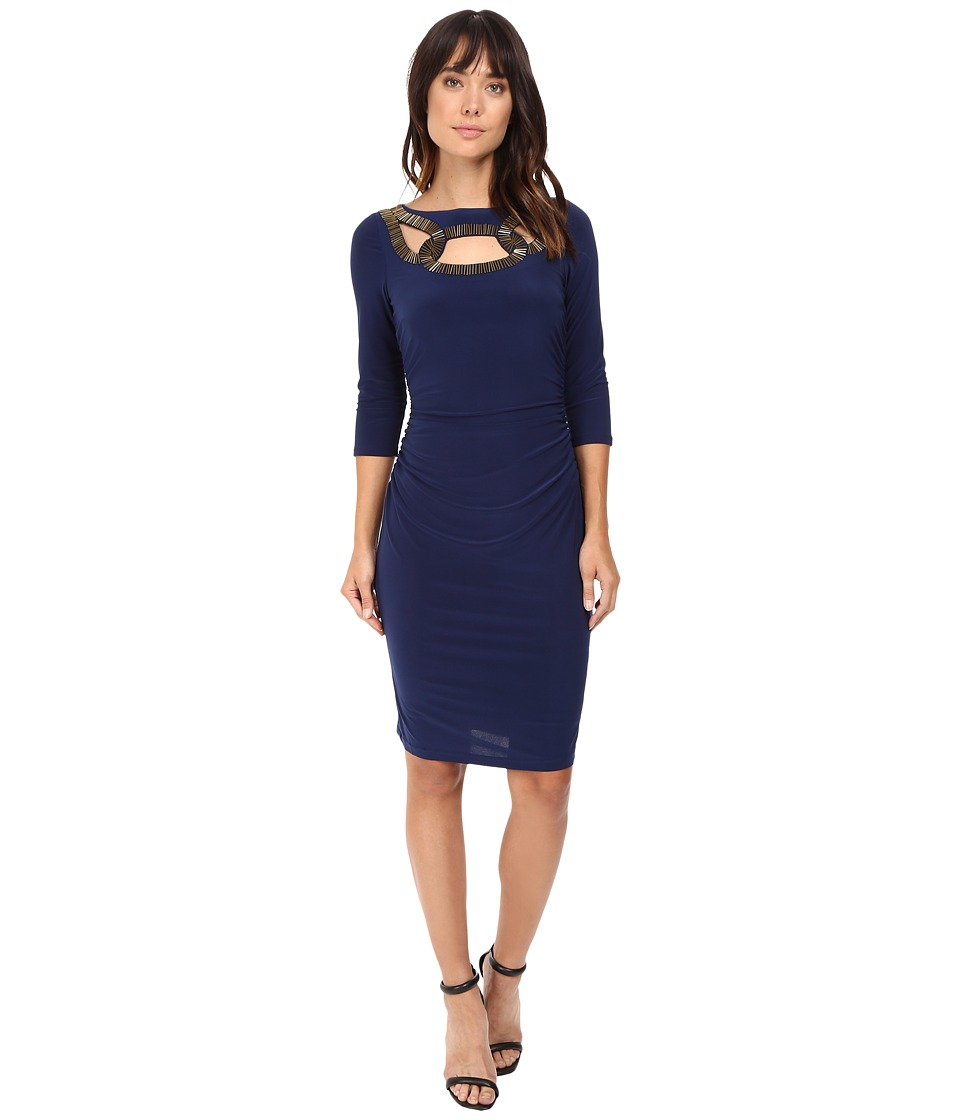 Adrianna Papell - Embellished Neckline 3/4 Sleeve Rouched Dress (Lyric Navy) Women's Dress