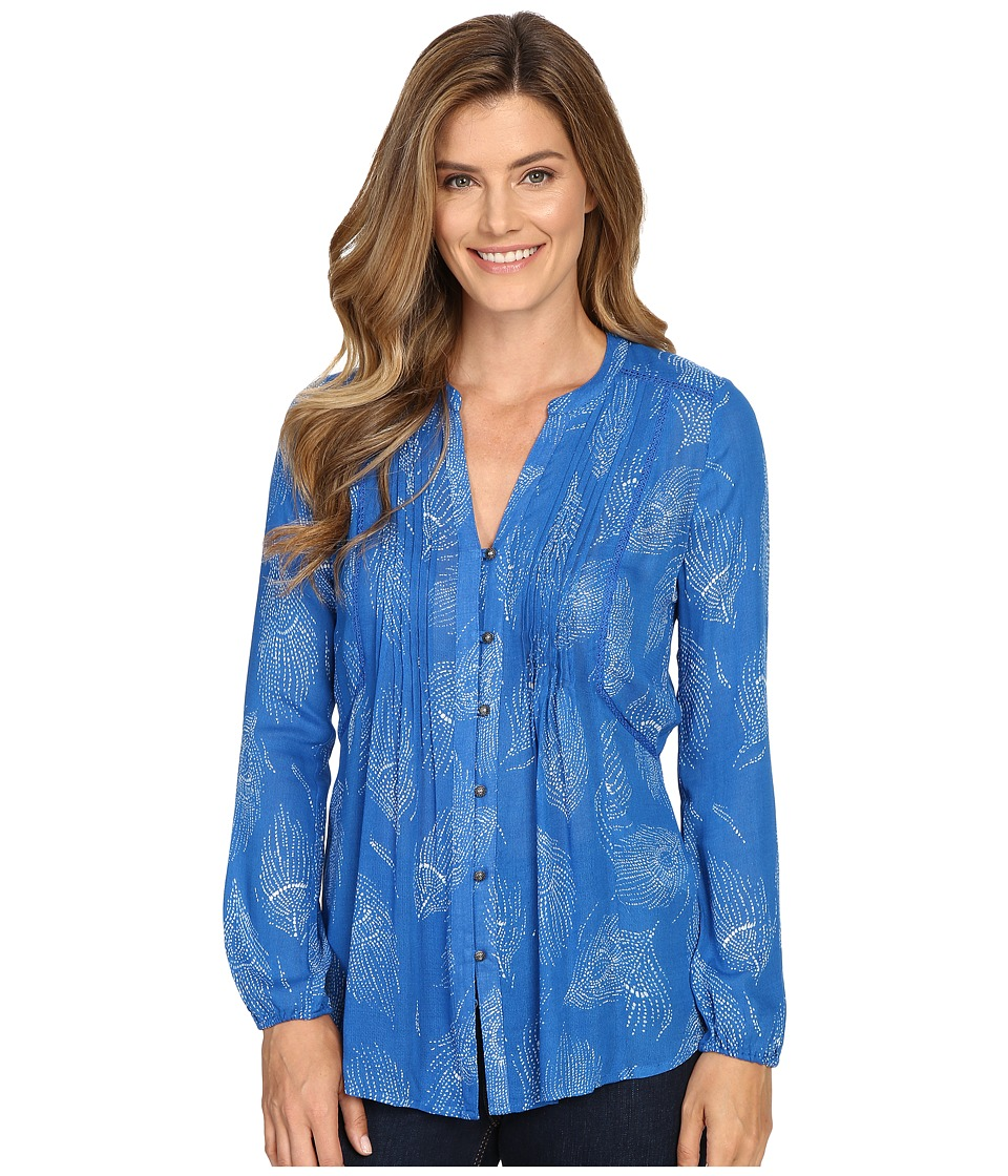 Lucky Brand - Feather Print Blouse (Blue Multi) Women's Blouse