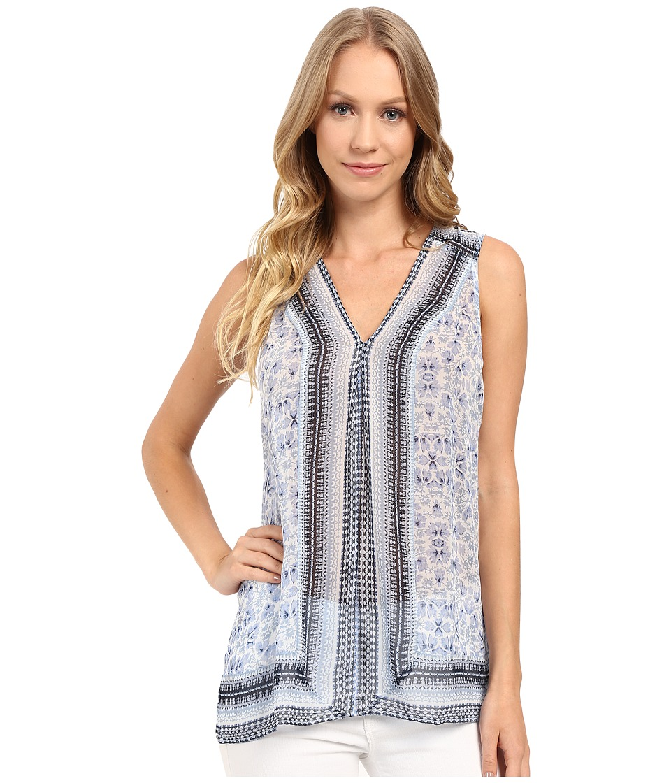 Lucky Brand - Printed Border Tank Top (Blue Multi) Women's Sleeveless