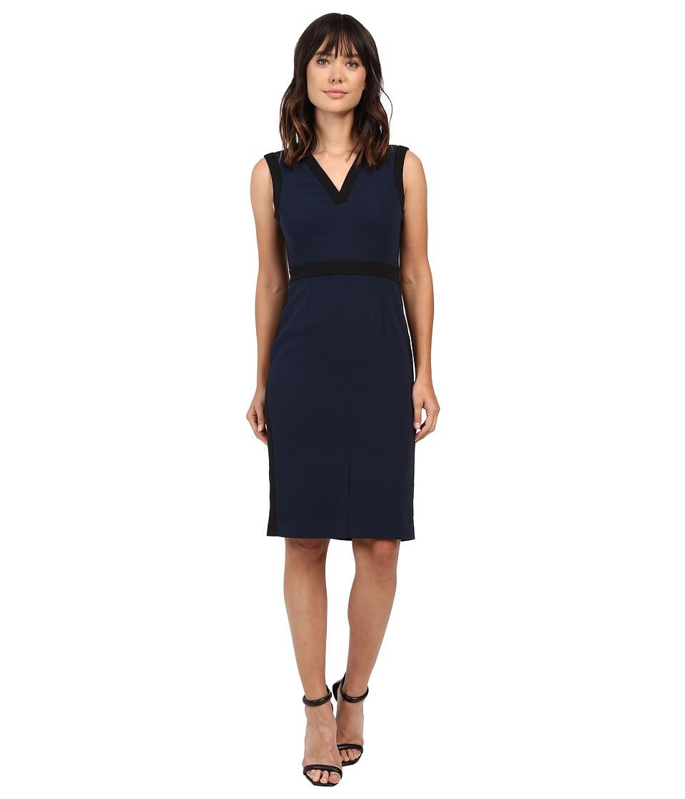 Adrianna Papell Color Contrast Stretch Crepe V-Neck Sheath Dress (Blue Moon) Women