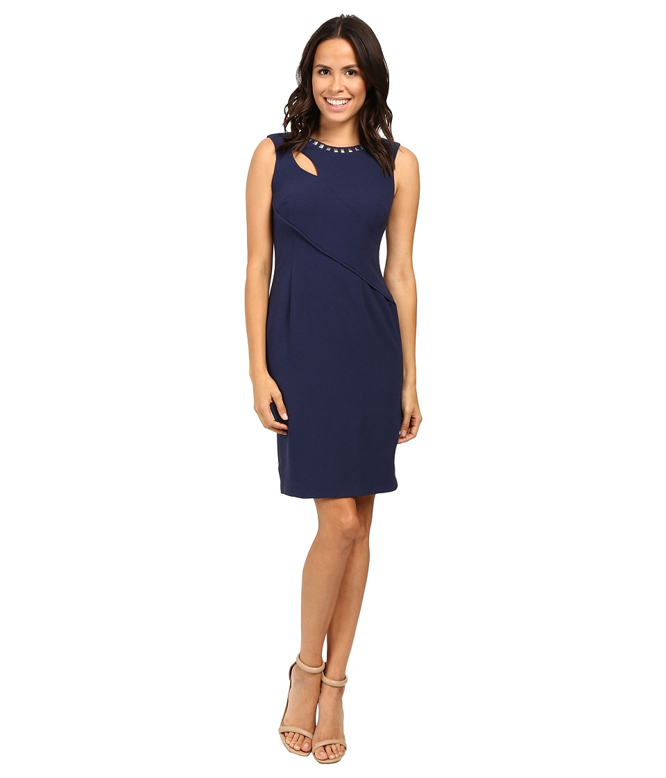 Adrianna Papell - Cut Out Sheath Dress with Hardware (Lyric Navy) Women's Dress