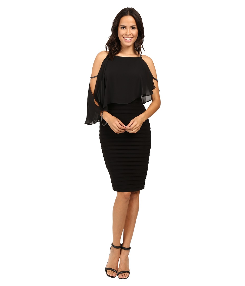 Adrianna Papell Lined Matte Jersey Banded Sheath Dress (Black) Women
