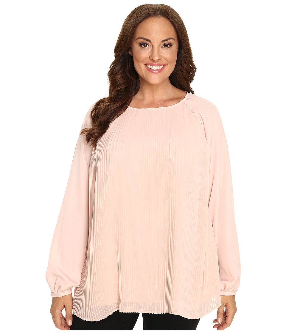 Calvin Klein Plus - Plus Size All Over Pleat Top (Blush) Women's Long Sleeve Pullover