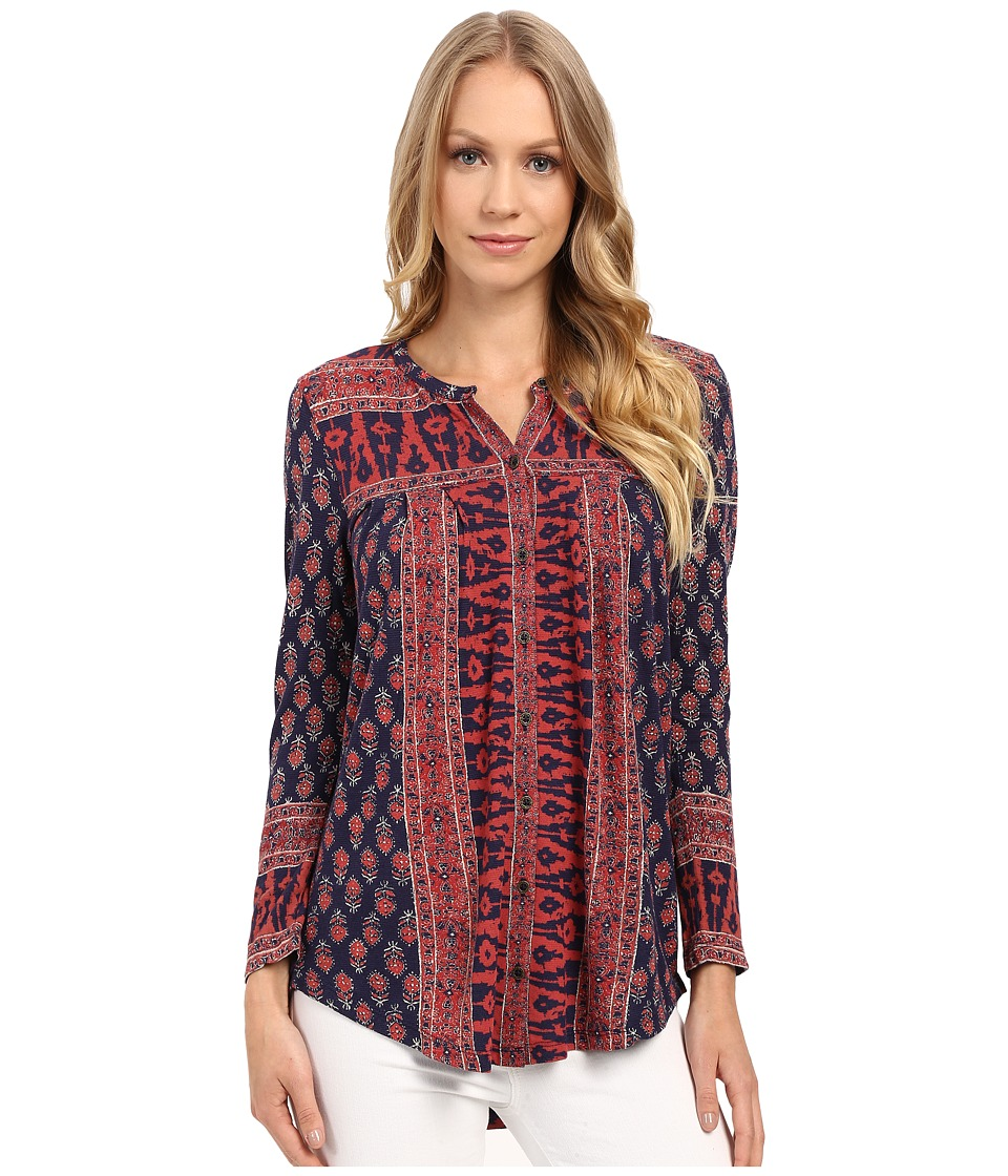 Lucky Brand - Wood Block Printed Top (Navy Multi) Women's Clothing