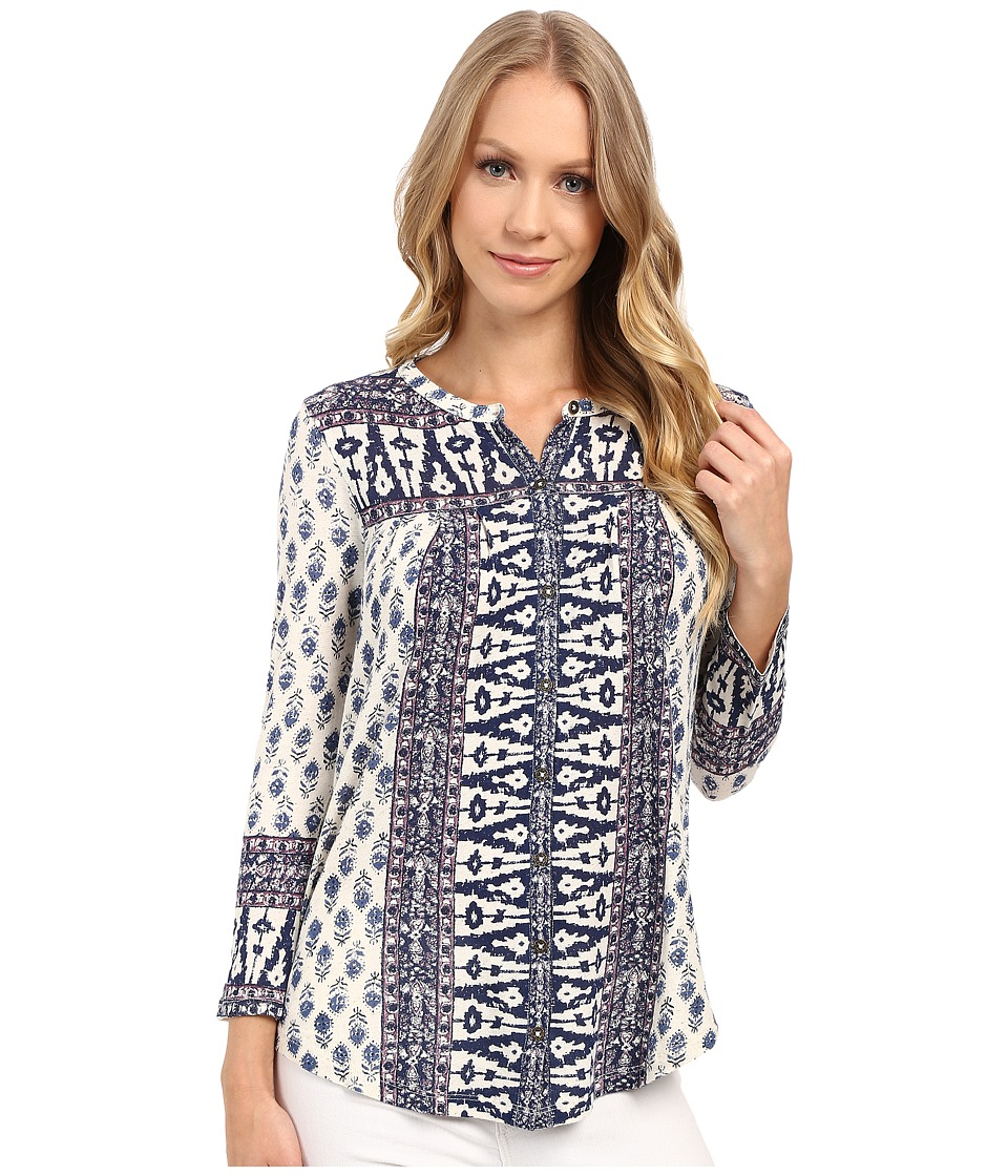 Lucky Brand - Wood Block Printed Top (Natural Multi) Women's Clothing