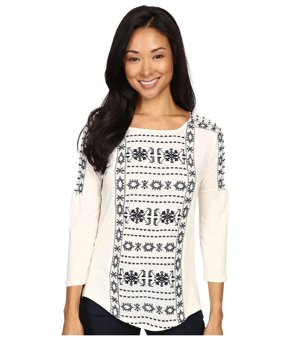 Lucky Brand - Geo Embroidered Top (Whisper White) Women's Clothing