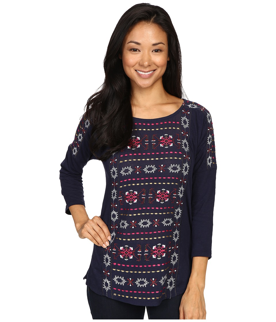 Lucky Brand - Geo Embroidered Top (American Navy) Women's Clothing