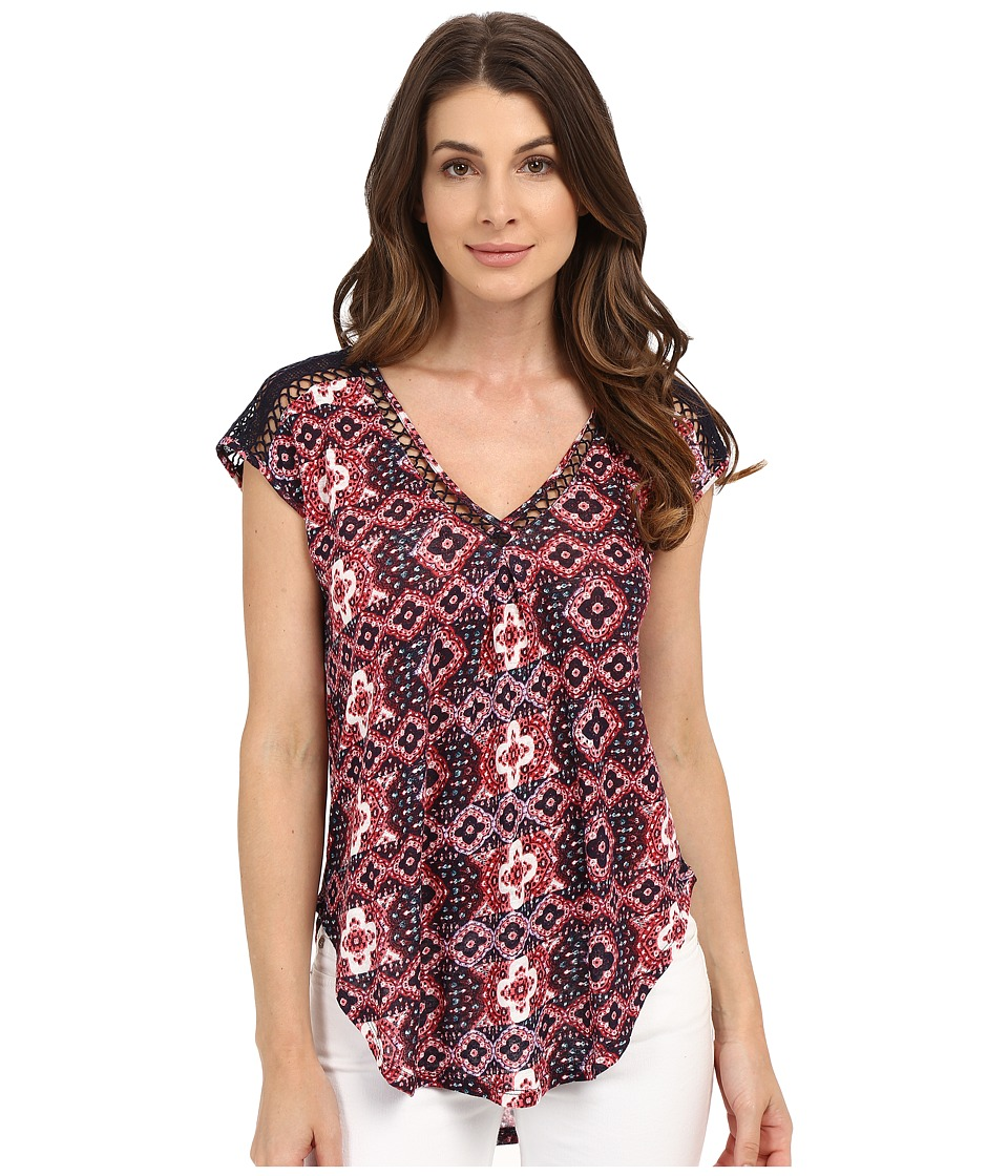 Lucky Brand - Inset Lace Top (Red Multi) Women's Clothing