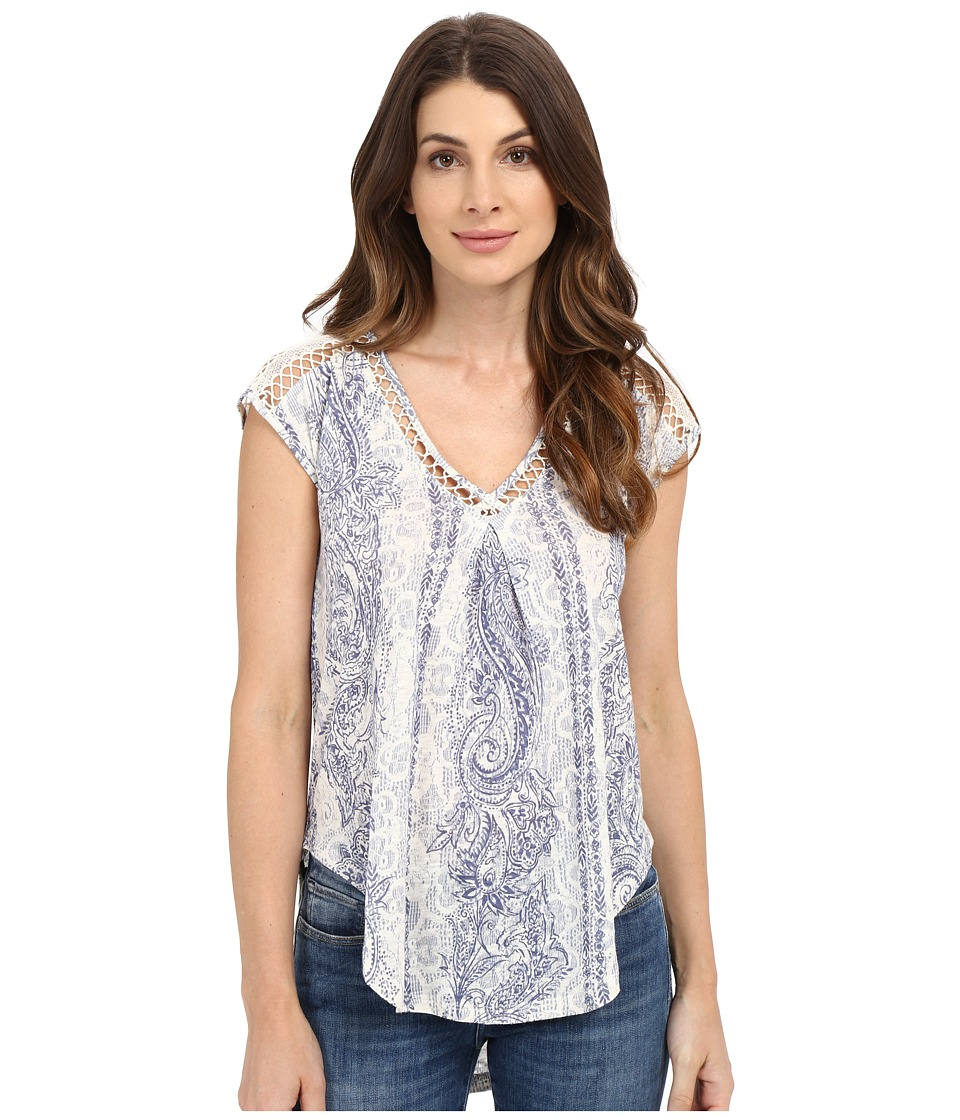 Lucky Brand - Inset Lace Top (Blue/Natural) Women's Clothing