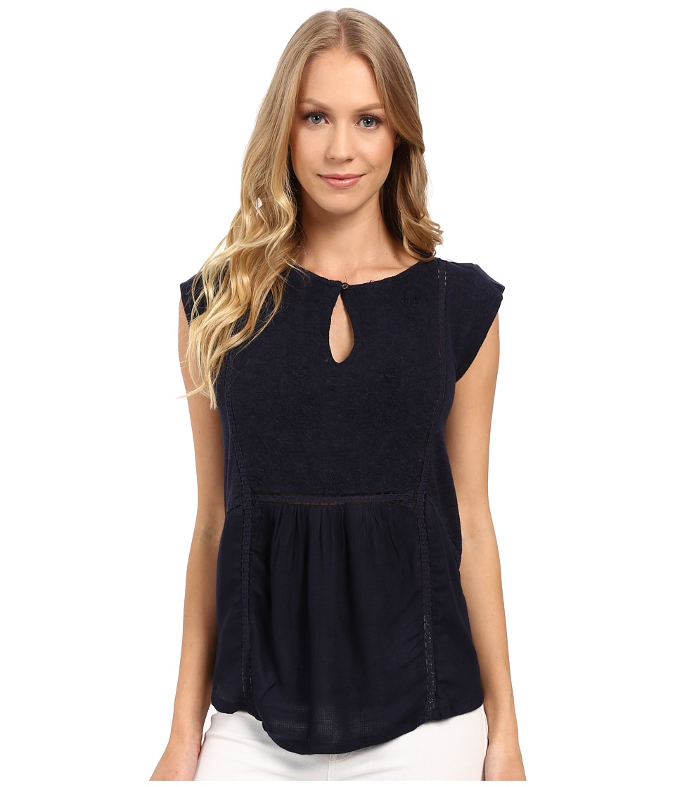 Lucky Brand - Mixed Fabric Shell Top (American Navy) Women's Clothing