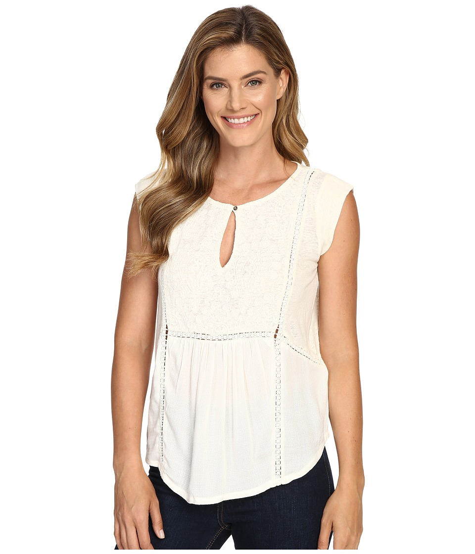 Lucky Brand - Mixed Fabric Shell Top (Whisper White) Women's Clothing