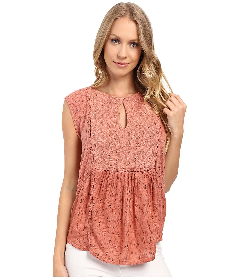 Lucky Brand - Printed Mixed Fabric Shell Top (Desert Sand) Women's Clothing
