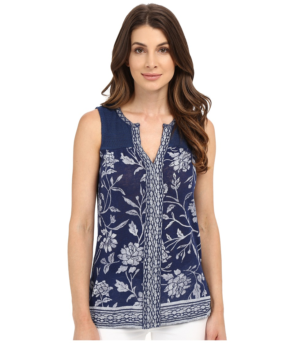 Lucky Brand - Floral Printed Tank Top (Blue Multi) Women's Sleeveless