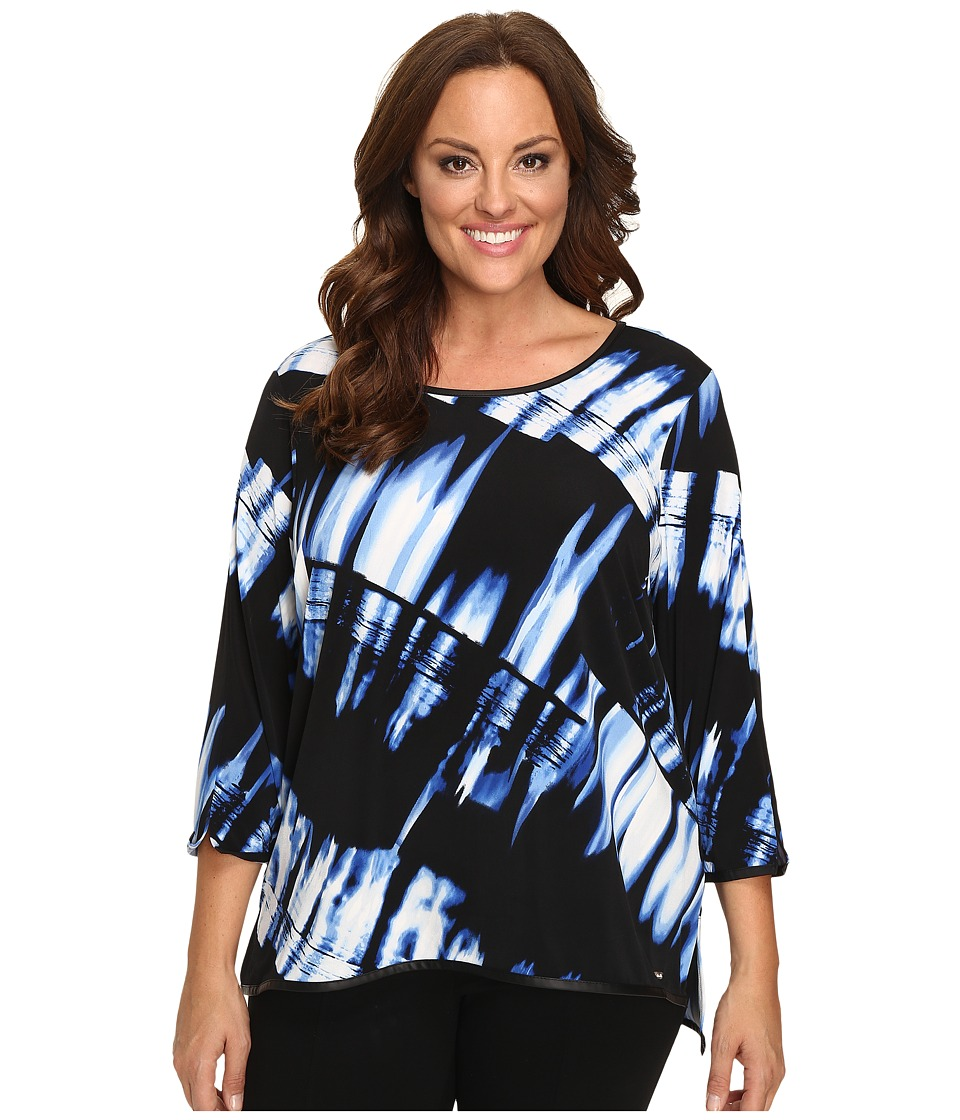 Calvin Klein Plus - Plus Size Printed 3/4 Sleeve w/ Faux Leather Trim (Celeste/Black Multi) Women's Long Sleeve Pullover