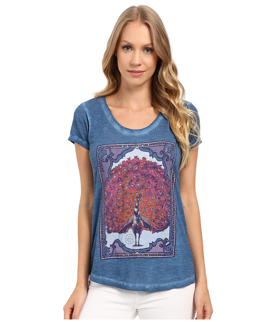 Lucky Brand Mega Peacock Tee (Blue Ashes) Women