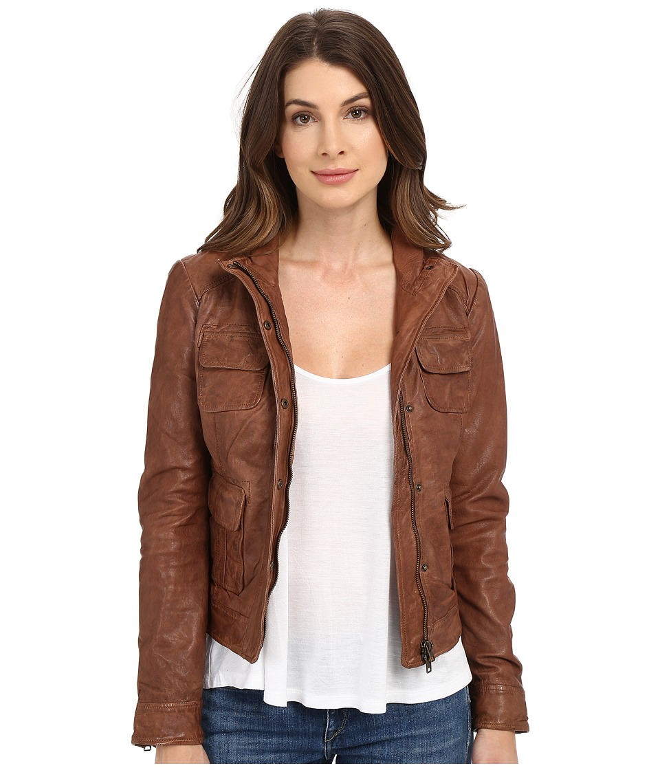 Lucky Brand - Derby Leather Jacket (Chocolate) Women's Coat