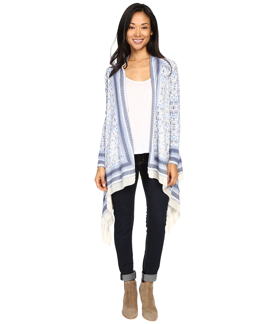 Lucky Brand - Scarf Print Cardigan (Blue Multi) Women's Sweater