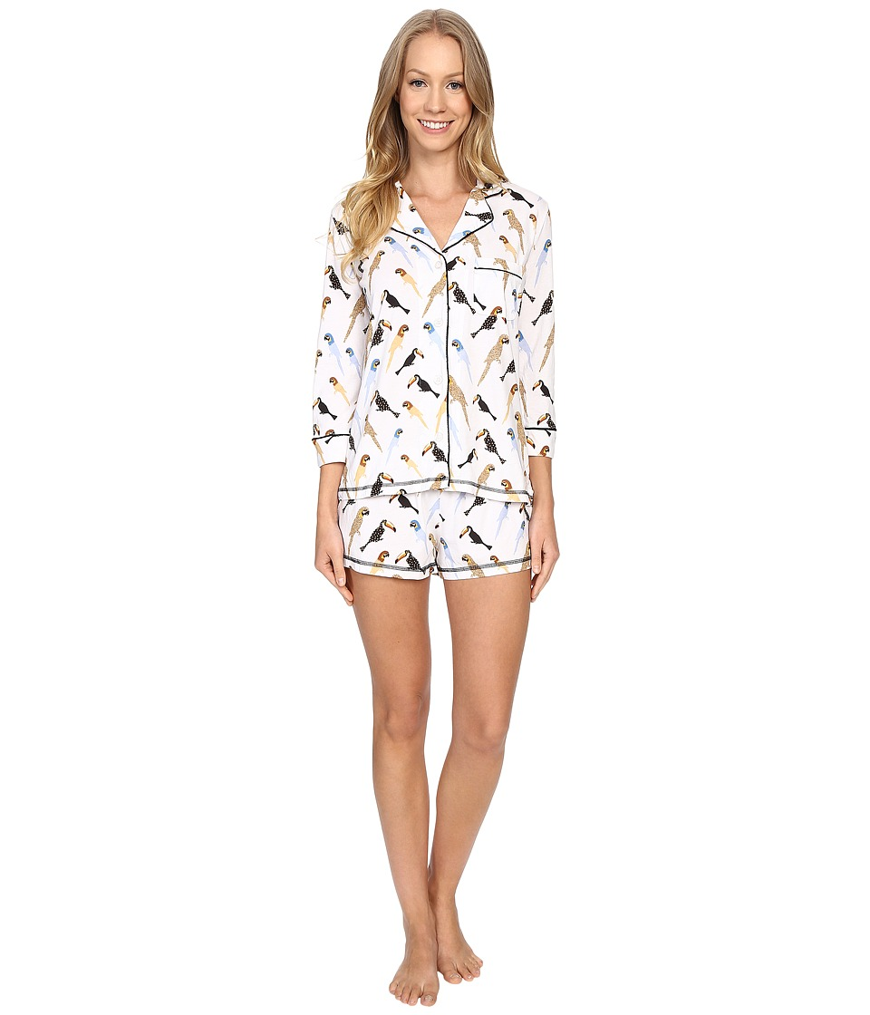 P.J. Salvage - Tropical Tweet Short Set (White) Women's Pajama Sets