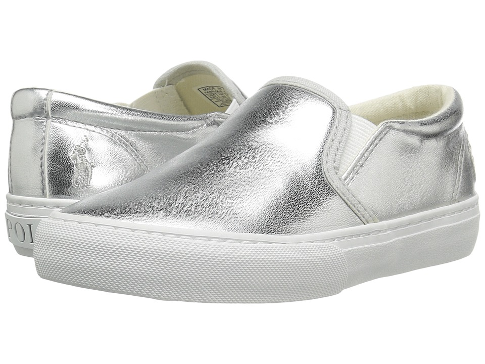 Polo Ralph Lauren Kids - Carlee Twin Gore (Little Kid/Big Kid) (Silver Metallic) Girl's Shoes