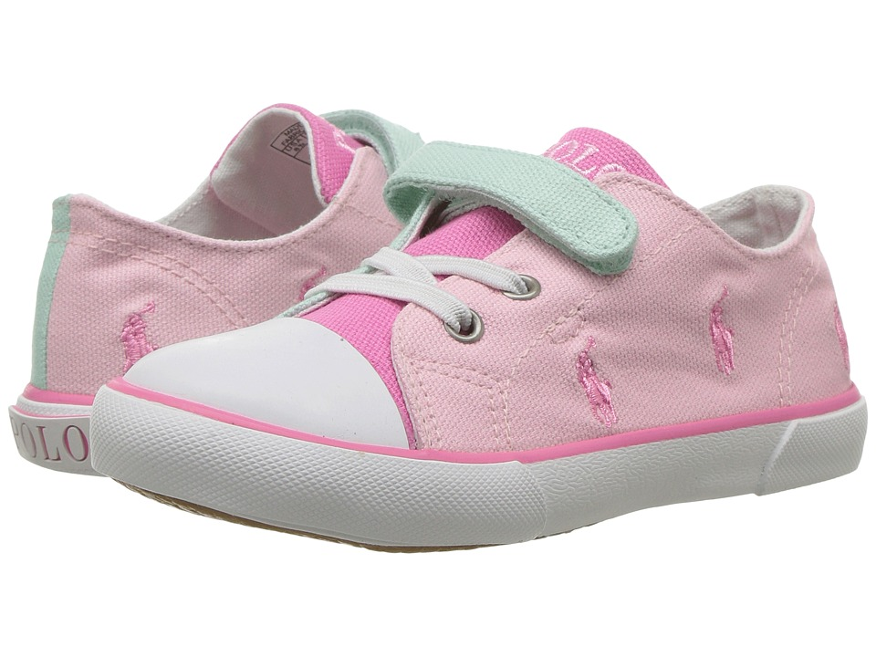 Polo Ralph Lauren Kids - Kody (Toddler) (Light Pink/Pistachio/Fuchsia Canvas Color Block) Girl's Shoes