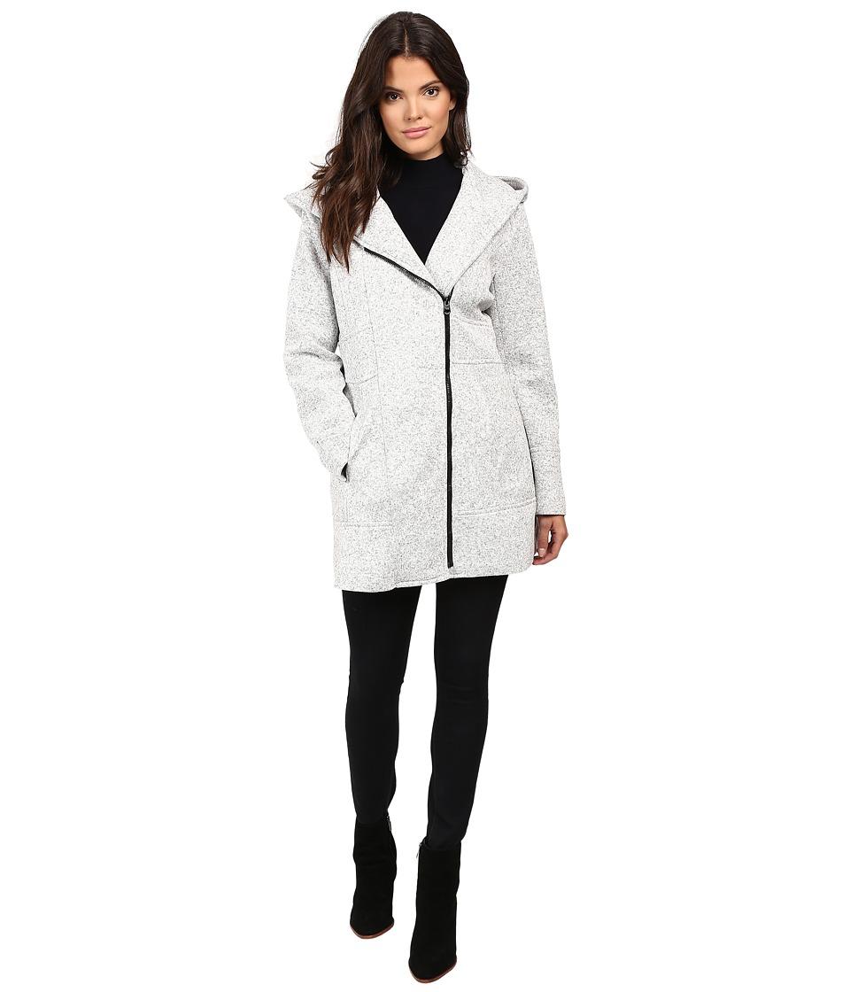 Jessica Simpson - Asymmetrical Zip Sweater Softshell (Grey/White) Women's Coat