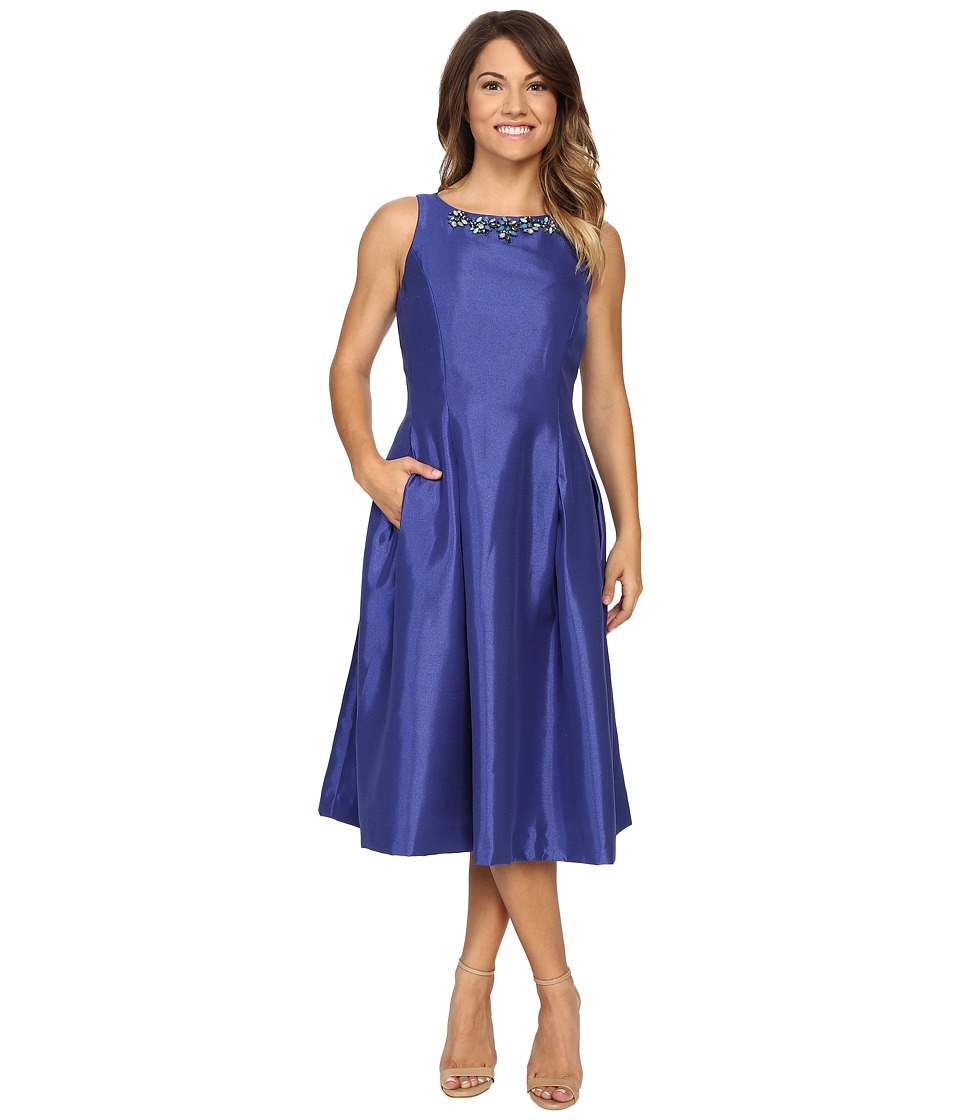 Tahari by ASL Petite - Petite Shantung Tea Length w/ Necklace Dress (Sapphire) Women's Dress