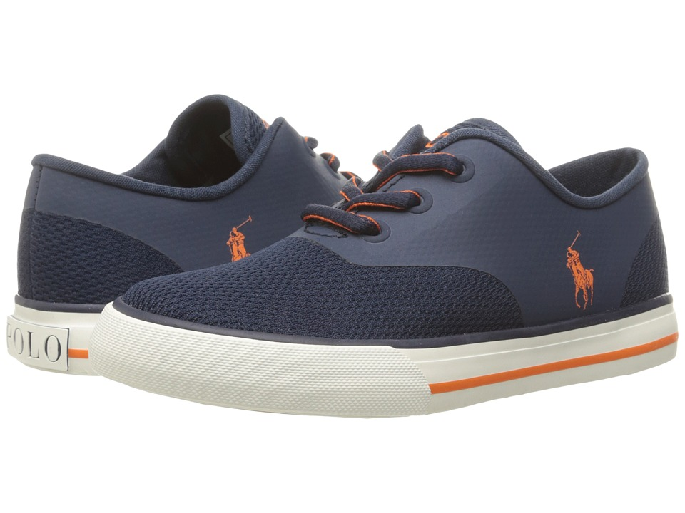 Polo Ralph Lauren Kids - Vaughn Fusion (Big Kid) (Navy Mesh/Orange Pony Player) Kid's Shoes