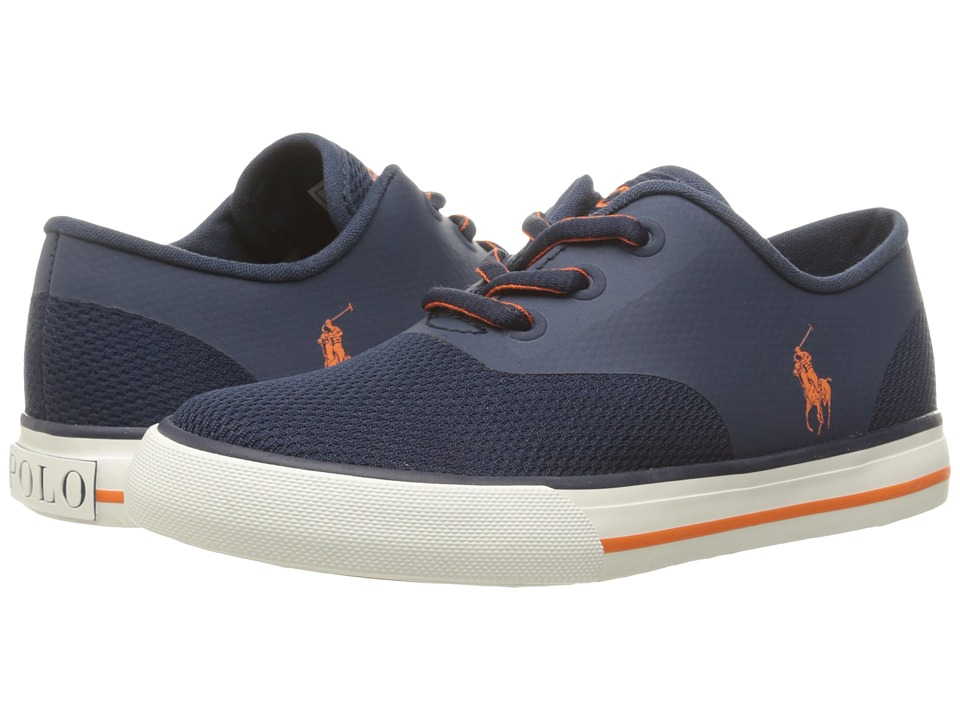 Polo Ralph Lauren Kids - Vaughn Fusion (Little Kid) (Navy Mesh/Orange Pony Player) Kid's Shoes