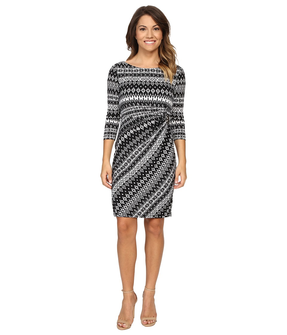Tahari by ASL Petite - Petite Textured Jersey Side Rouch Dress (White/Black) Women's Dress