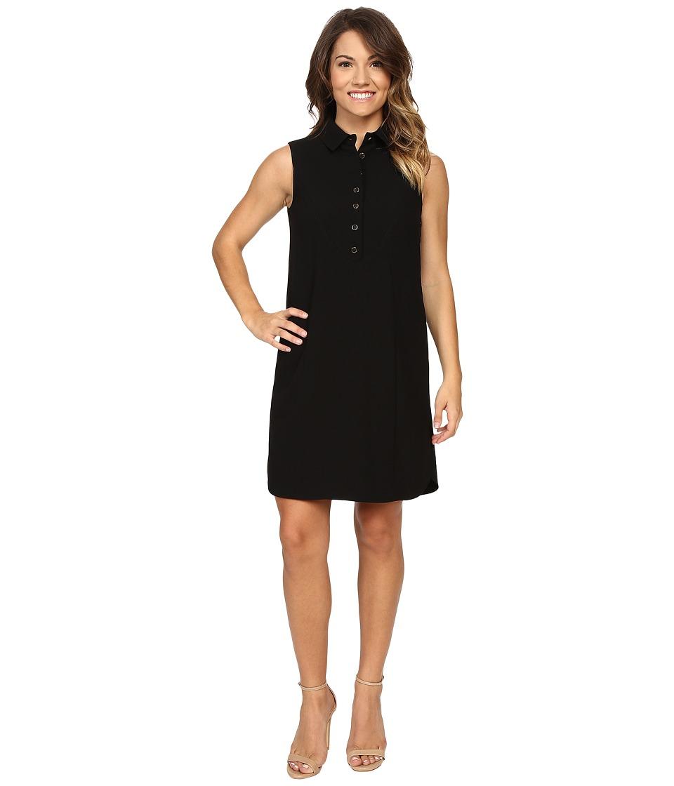 Tahari by ASL Petite Petite Crepe Sleeveless Shirtdress (Black) Women