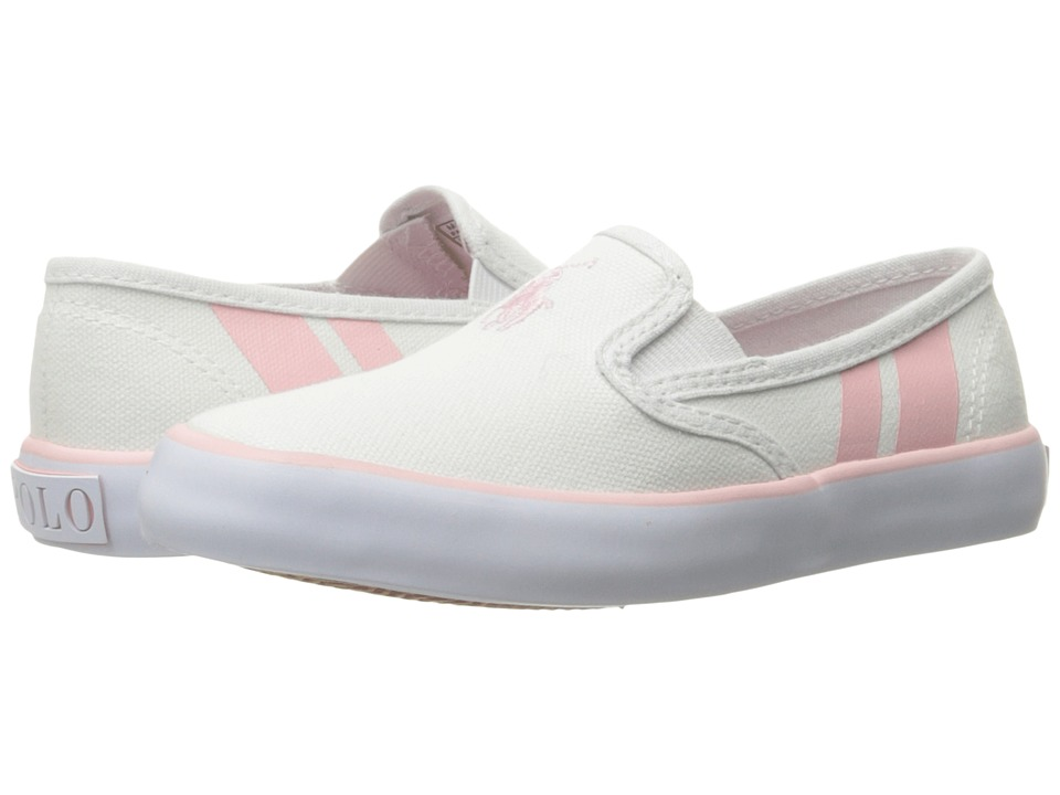 Polo Ralph Lauren Kids - Piper (Little Kid) (White Canvas/Light Pink Pony Player/Light Pink) Girl's Shoes