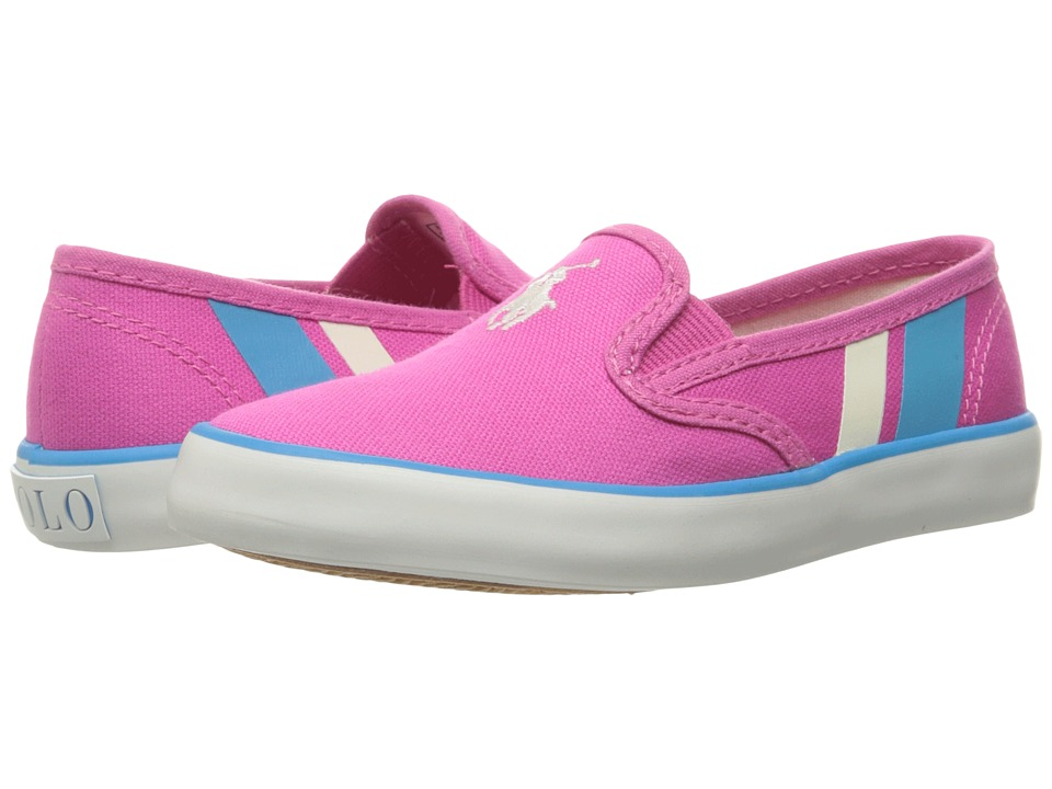 Polo Ralph Lauren Kids - Piper (Little Kid) (Fuchsia Canvas/White Pony Player/Teal) Girl's Shoes