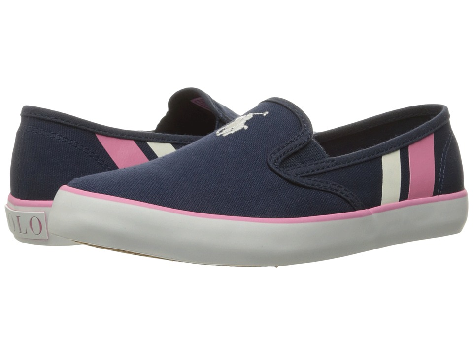 Polo Ralph Lauren Kids - Piper (Big Kid) (Navy Canvas/White Pony Player/Light Pink) Kid's Shoes