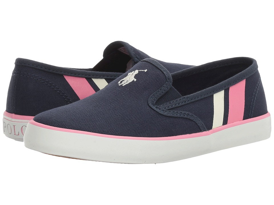 Polo Ralph Lauren Kids - Piper (Little Kid) (Navy Canvas/White Pony Player/Light Pink) Kid's Shoes