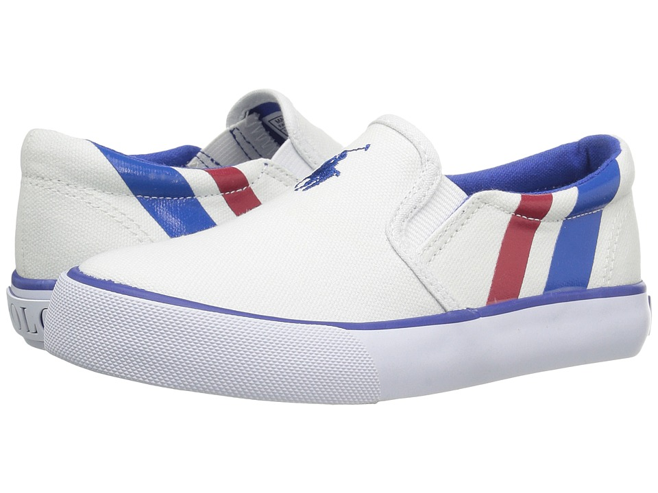 Polo Ralph Lauren Kids - Paxon (Little Kid) (White Canvas/Royal Pony Player/Red) Kid's Shoes